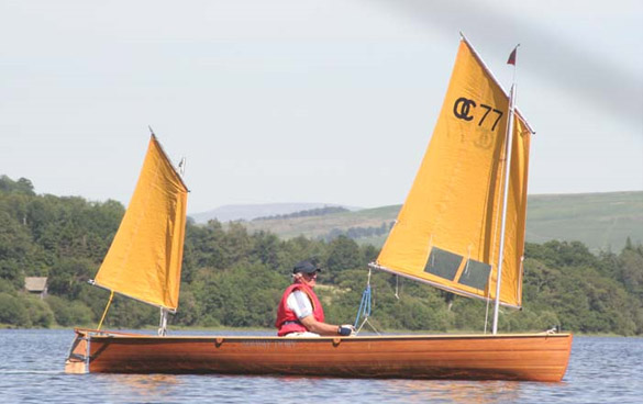 Cedar Strip sailing canoe with Small Lugsail Ketch Rig