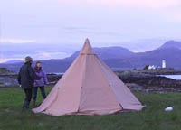 teepee on solway dory expedition