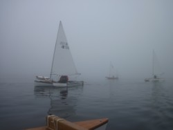 sailing canoes in fog,sound of Jura