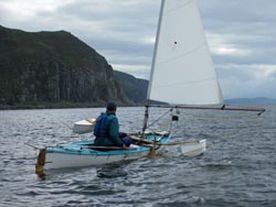 sailing canoe off mull