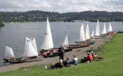 Sailing canoes on a 2 day cruise on windermere