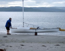 sailing canoe with launching trolley